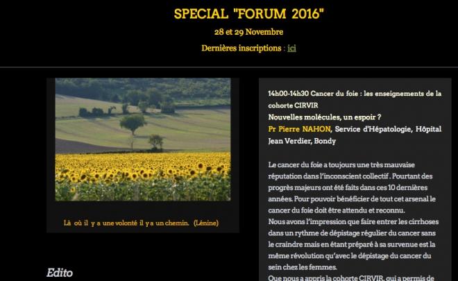 Newsletter Novembre/spéciale «Forum 2016″